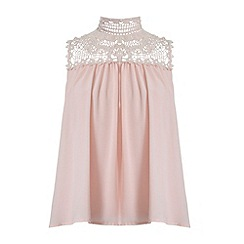 Jumpo London - Pink deep armhole lace sleeveless top
