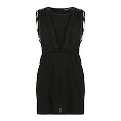Jumpo London - Black chiffon wrap effect sleeveless dress