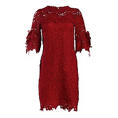 Jolie Moi - Red crocheted lace flare sleeve tunic