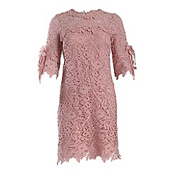 Jolie Moi - Mauve crocheted lace flare sleeve tunic