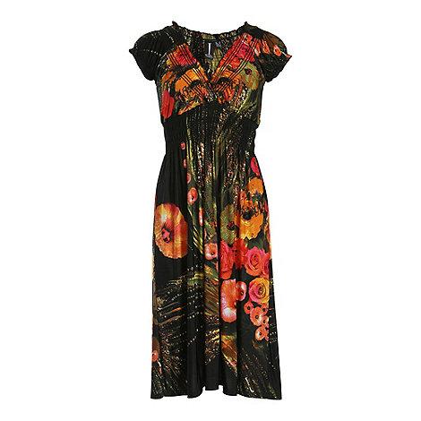 Izabel London - Orange cap sleeve floral print dress