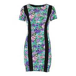 Indulgence - Green floral print panel dress