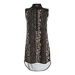 Ayarisa - Multicoloured animal sleeveless contrast detail shirt