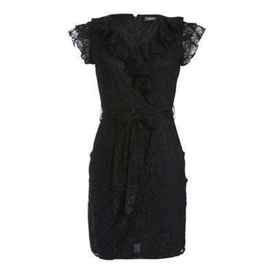 Ayarisa Black black finola lace mock wrap tie dress - . -