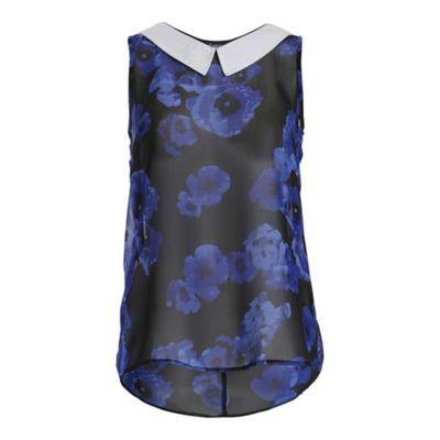 Ayarisa Black blue peter pan contrast collar top - . -