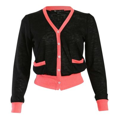 Cutie Black contrast colour cardigan - M/L. -