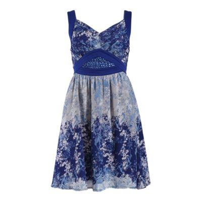 Chase 7 Blue strap chiffon ditsy print dress - . -