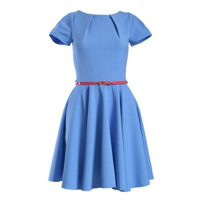 Closet Blue cap sleeve flared belted dress - . -