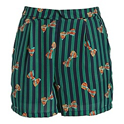 Cutie - Green ribbon print striped shorts