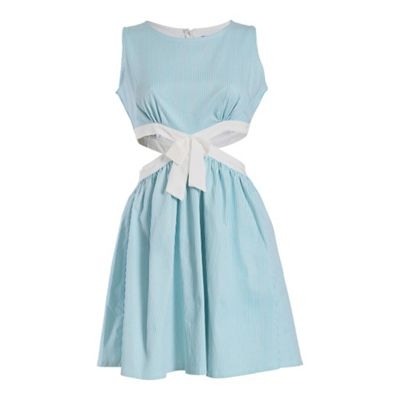 Cutie Aqua cut out dress with bow - . -