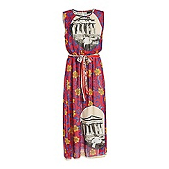 Jumpo London - Red flower and temple print maxi dress