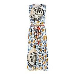 Jumpo London - Blue flower and temple print maxi dress