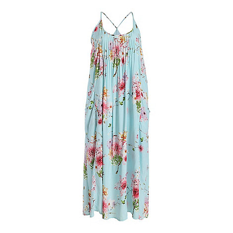 Samya - Light blue straps floral print maxi dress