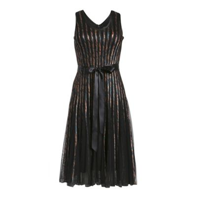 Chase 7 Black sleeveless multi ribbon belted mesh - . -