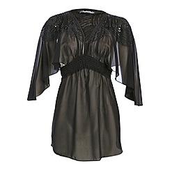 Ayarisa - Black embellished cut out cheryl kaftan top