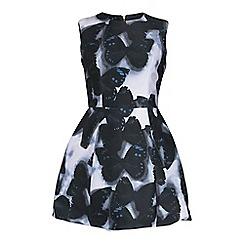 Jolie Moi - Black butterfly print boned bell dress