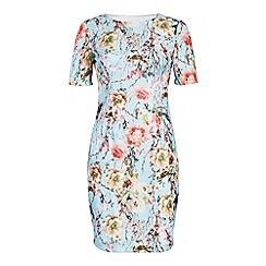 Jolie Moi - Blue bonded lace print tuck dress