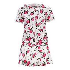 Jumpo London - White rose print short and hoddie set