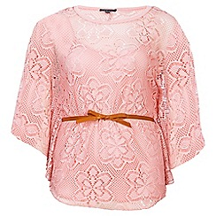 Samya - Pink batwing belted top with vest