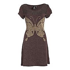 Izabel London - Brown short sleeve cut out pattern neckline dress