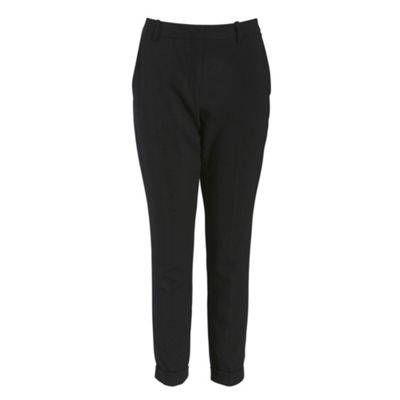 Closet Black pleat front turn up trouser - . -