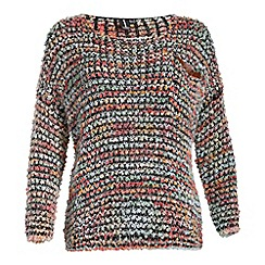 Izabel London - Black long sleeve multi coloured knitted top