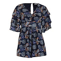 Alice & You - Navy chiffon printed playsuit