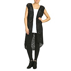 Petals - Black long knitted sleeveless cardigan