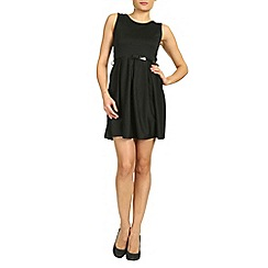 Petals - Black plain skater dress
