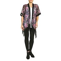 Petals - Black floral print kimono top
