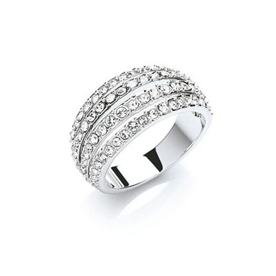 Buckey ondon Siver rhodium pated pave strands ring - . -