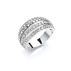 Buckley London - Silver rhodium plated pave strands ring