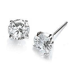 Buckley London - Silver rhodium large stud cubic zirconia earrings
