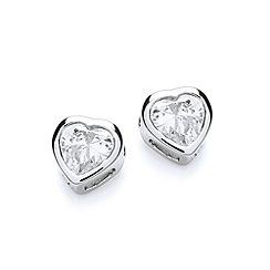 Buckley London - Silver rhodium plated simple heart earrings