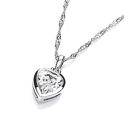 Buckley London - Silver rhodium plated simple heart pendant