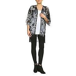 Petals - Black black and white print kimono