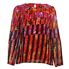 Cutie - Red print chiffon blouse
