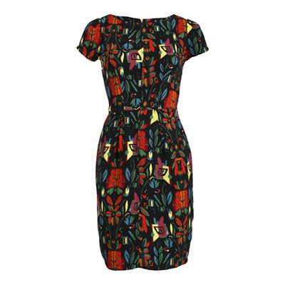 Cutie Black colourful flower dress - . -