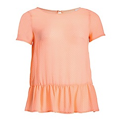 Threads - Peach textured peplum tee