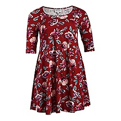 Threads - Dark red print 3/4 sleeve swing dress