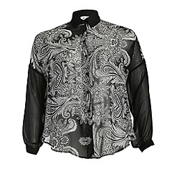 Threads - Black paisley print front blouse