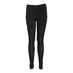 Voulez Vous - Black pu panel high waisted trousers