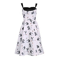 Jolie Moi - White swan print plunge neck 50's satin dress