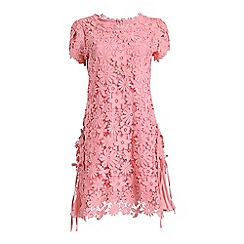 Jolie Moi - Pink crochet floral lace side pleated swing dress