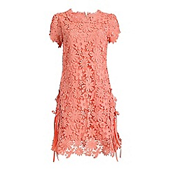 Jolie Moi - Mid rose crochet floral lace side pleated swing dress