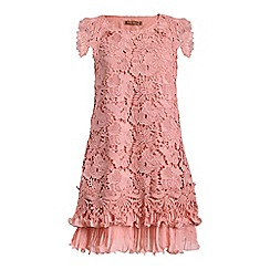 Jolie Moi - Mauve crochet lace back pleated swing dress