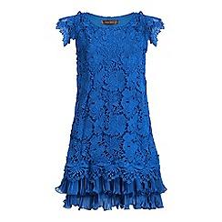 Jolie Moi - Royal crochet lace back pleated swing dress