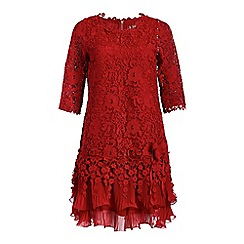 Jolie Moi - Red 3/4 sleeve tiered crochet lace dress
