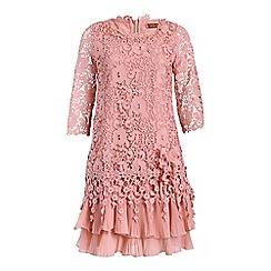 Jolie Moi - Pink 3/4 sleeve tiered crochet lace dress