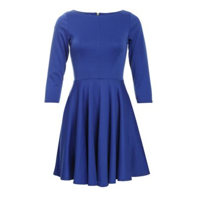 Blue closet blu flared 3/4 sleeve dress - . -